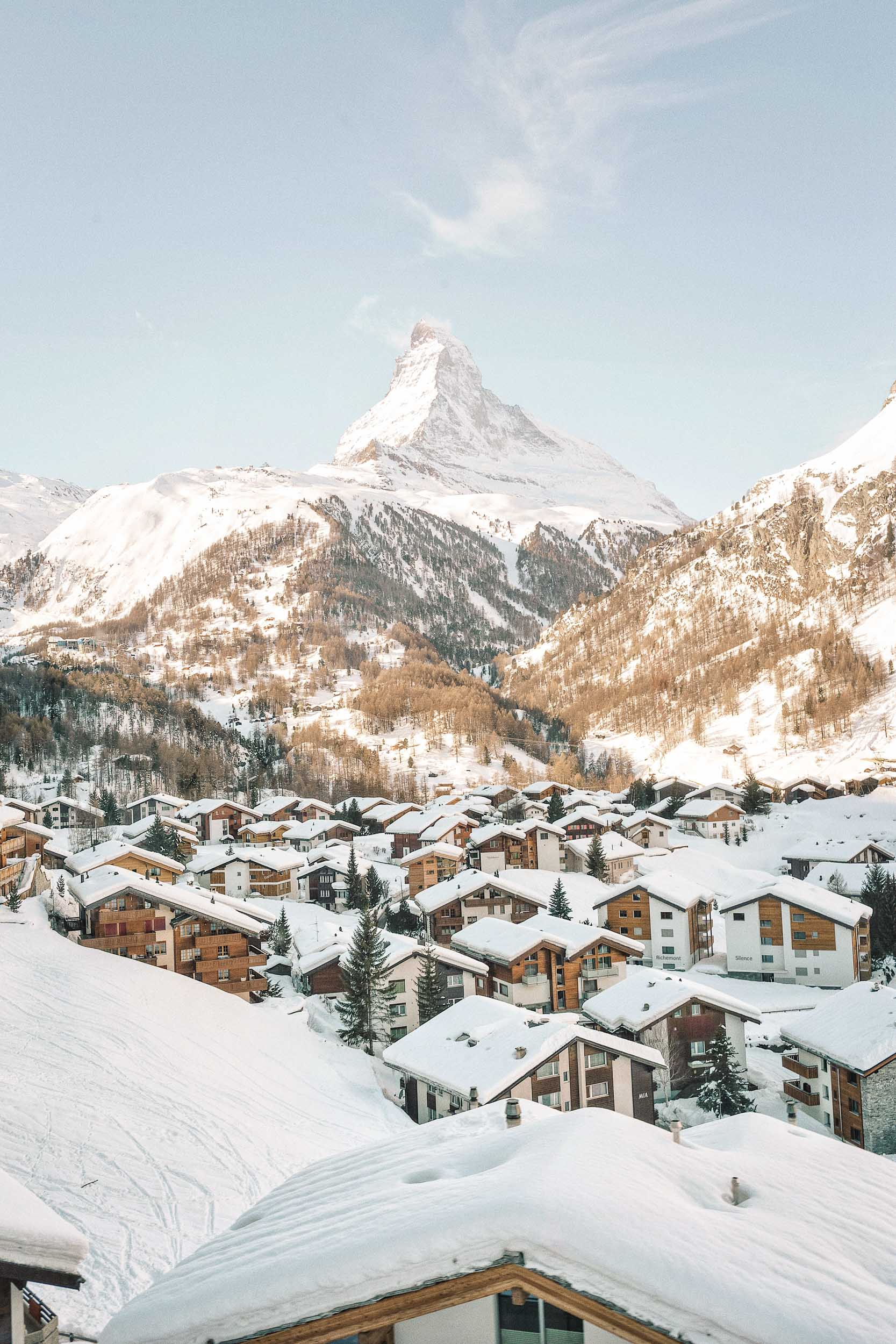 The entire village of Zermatt is car free, making it great for walking around and shopping at the many boutiques.