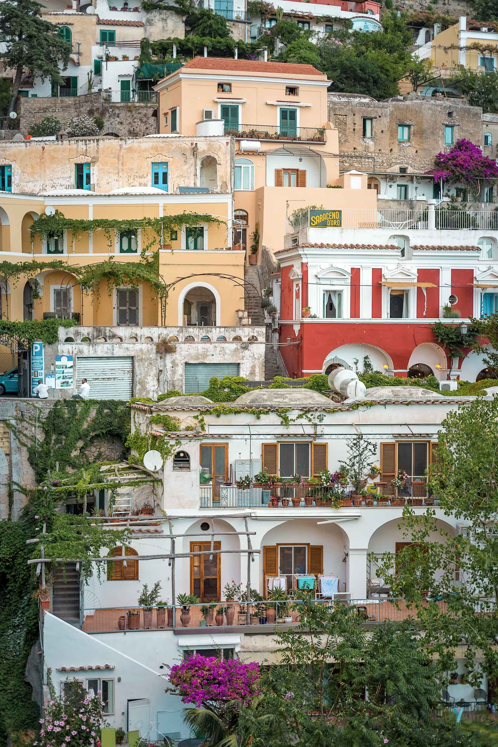Dimora del Podesta (red) is the best inexpensive place to stay in Positano, Italy