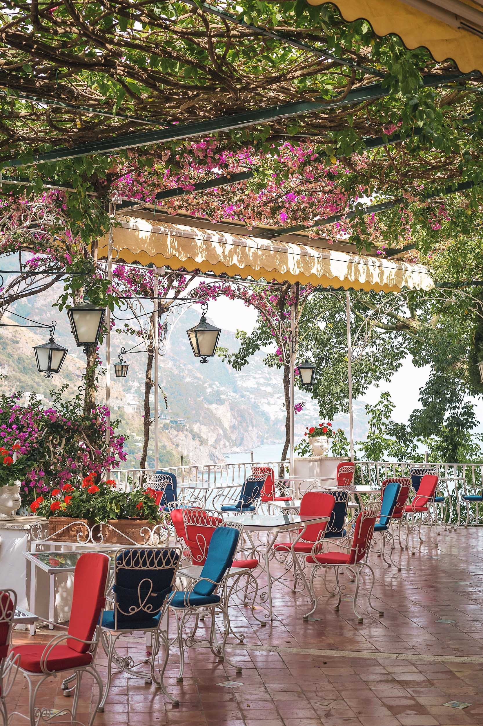 The most beautiful place to grab a meal or a drink in Positano: Il Tridente at Hotel Poseidon