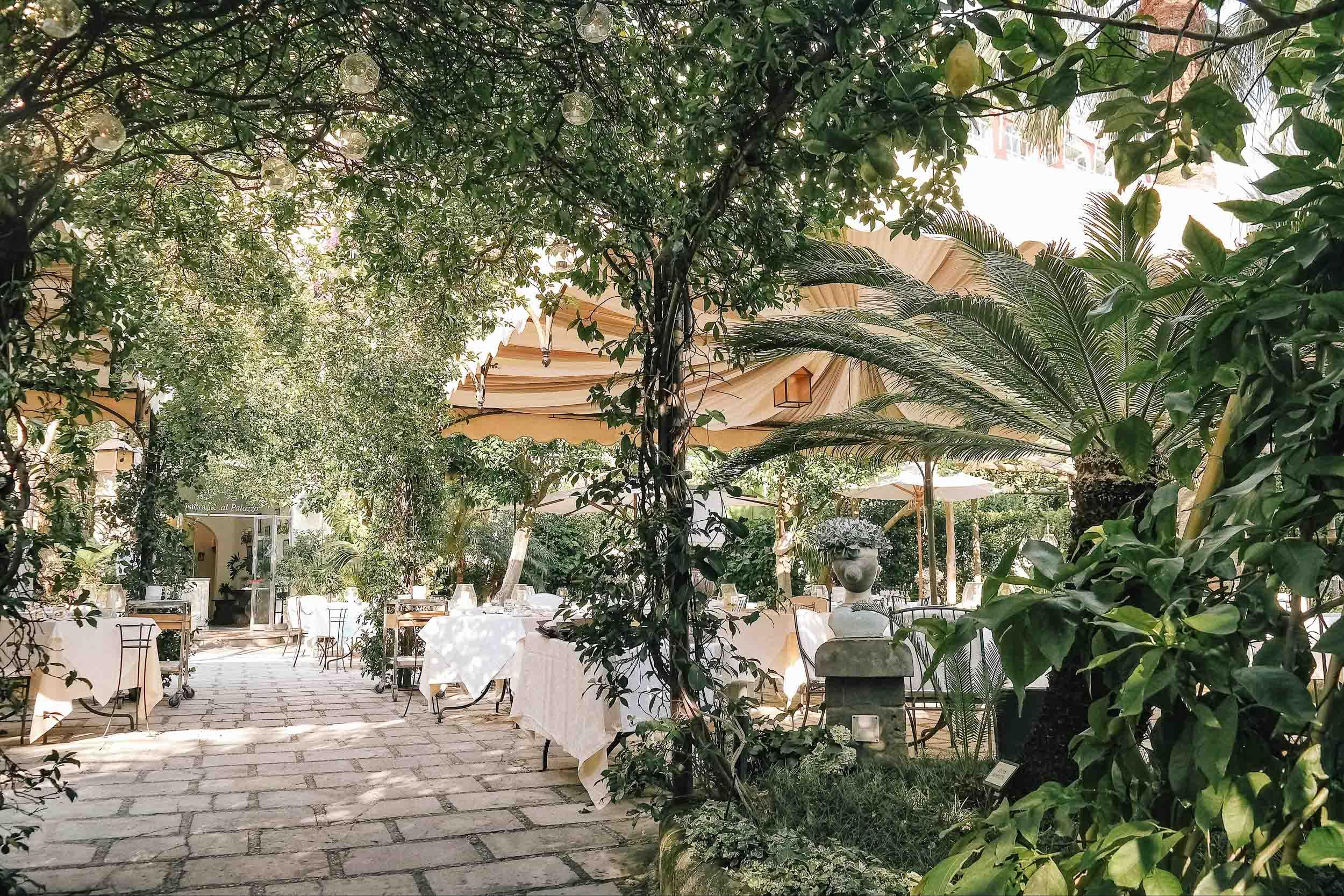 A restaurant patio in Positano, Italy
