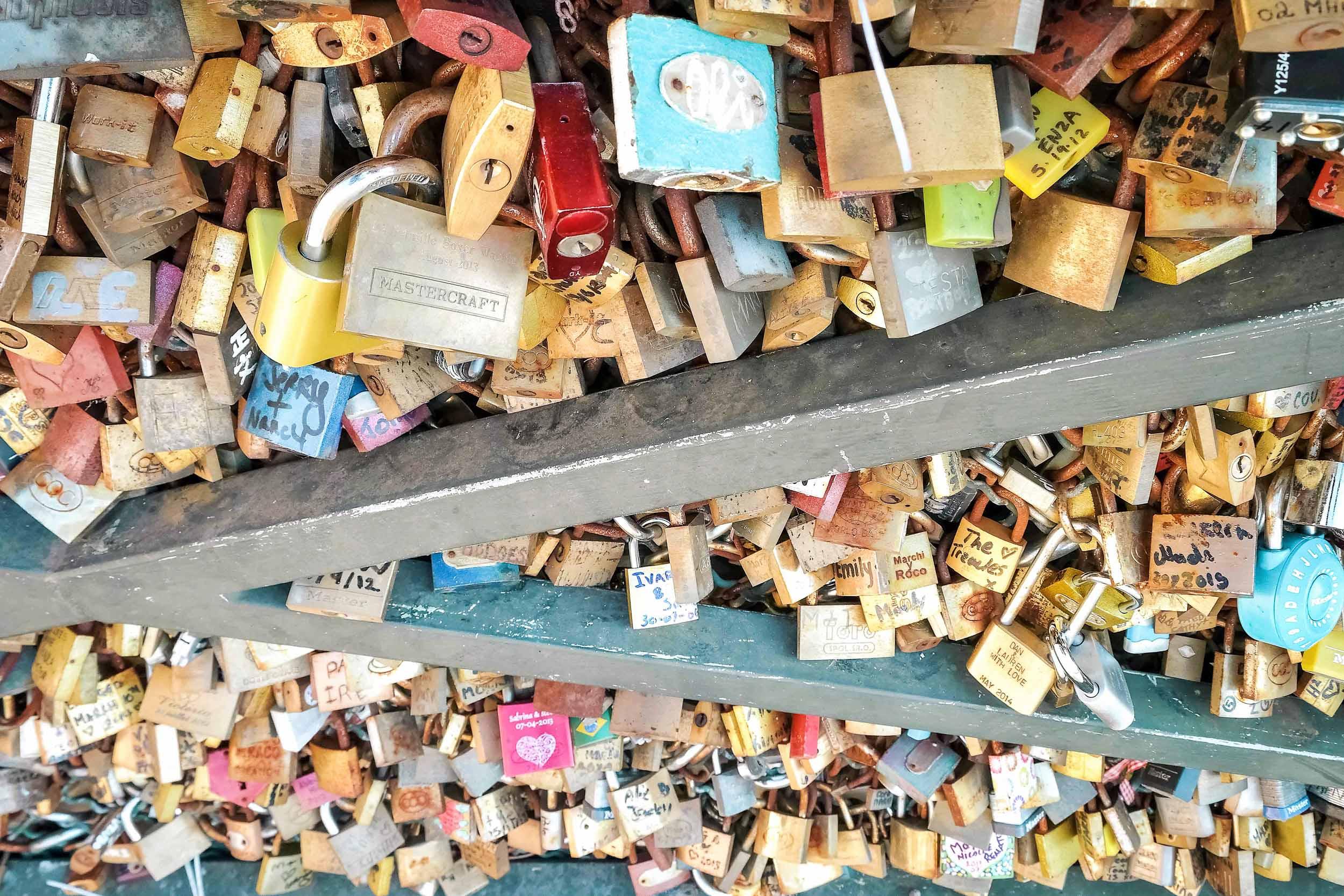 Locks on Pont Des Arts love locks bridge