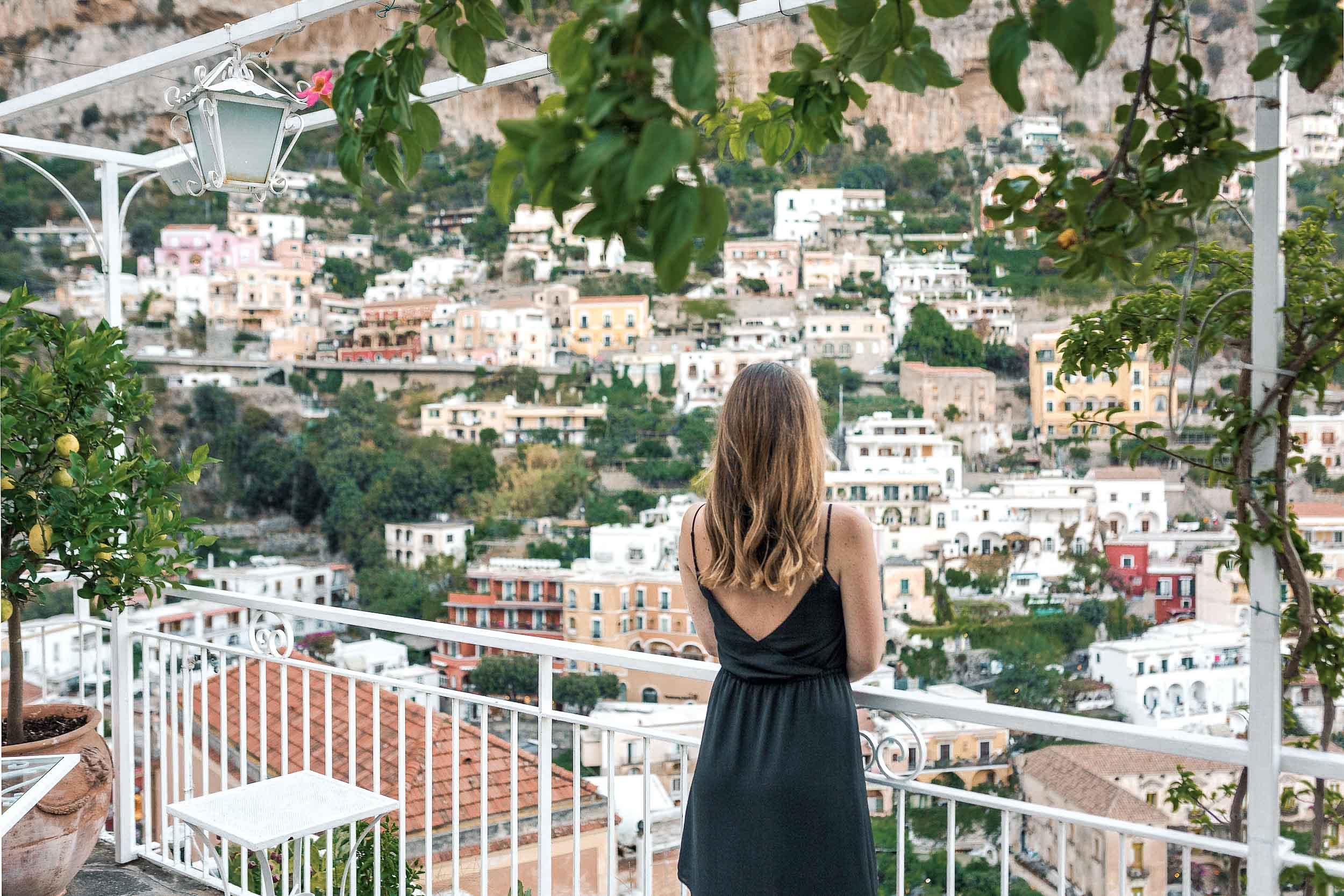 Amalfi Coast best views are from the terrace at Hotel Poseidon