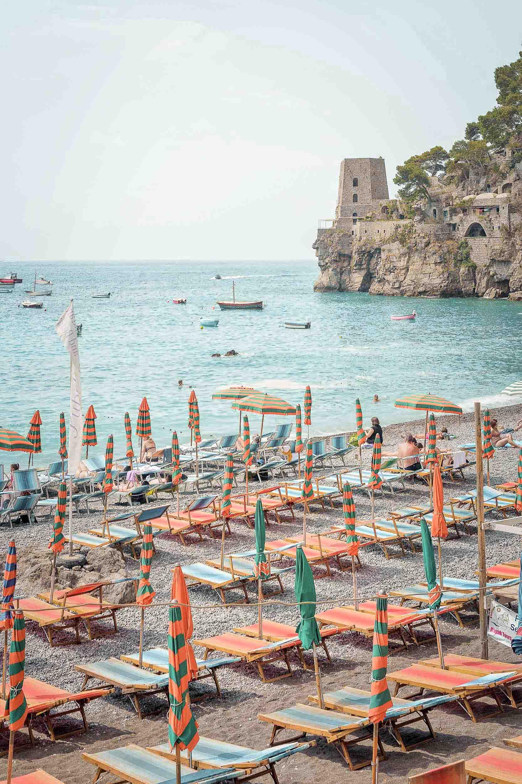 A less touristy Amalfi Coast beaches option, Fornillo Beach in Positano