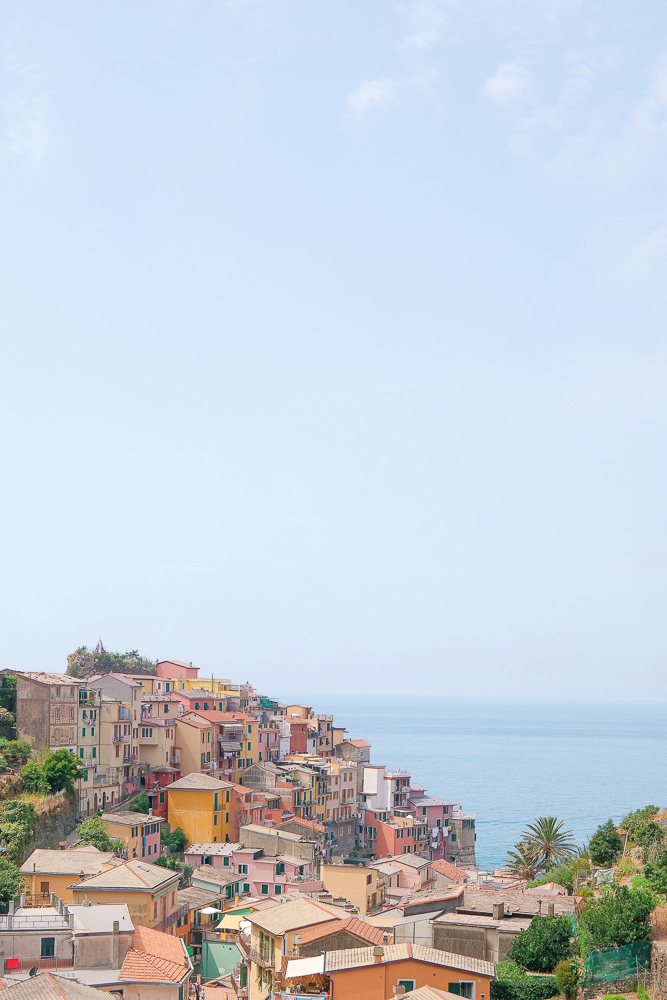 Corniglia — the only village not accessible by sea. You can arrive here by train or on foot. It is incredibly small. This is the town I would least recommend staying in