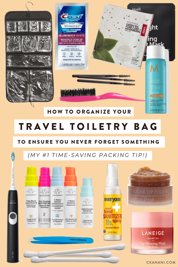 How to pack and organize your travel toiletry bag to ensure you never forget something! My #1 time-saving packing tip. #packingtips #traveltips #packinglist #packing #beautytips