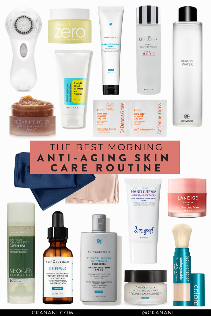 The best morning anti aging skin care routine. All of the best skin care products to look young and glowy forever. #skincareroutine #skincaretips #antiaging #antiagingskincare #skincareroutineproducts