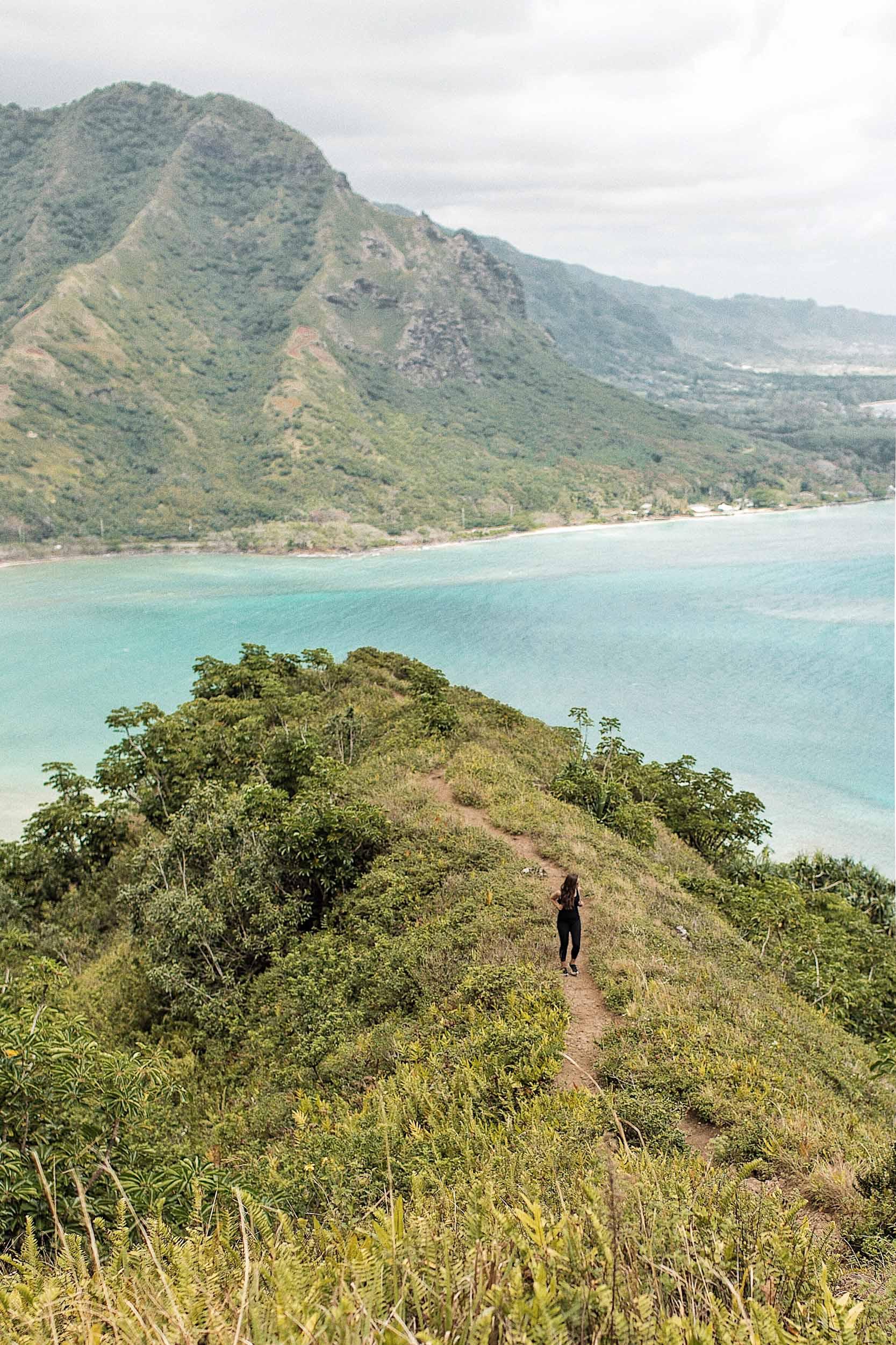 Sunny and beautiful views of Kahana Bay while walking along Crouching Lion Hawaii