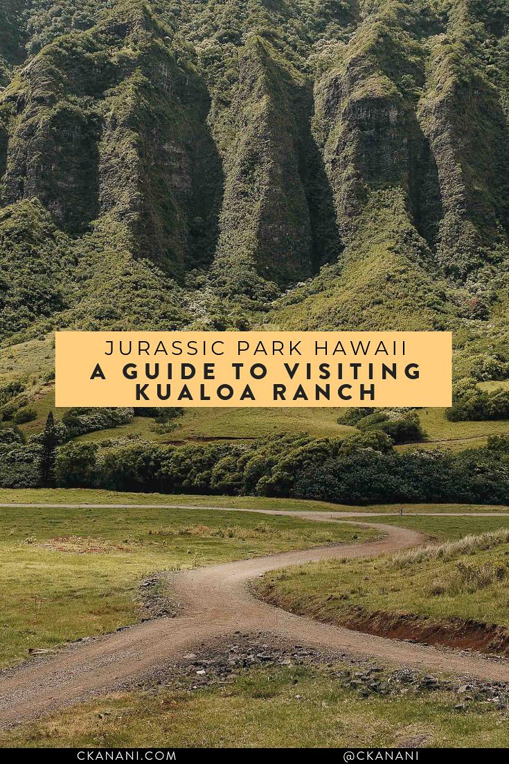 A guide to visiting Kualoa Ranch Oahu - real life Jurassic Park Hawaii! See Jurassic Park filming locations via zipline, ATV, horseback, e-bike, and more. #hawaii #oahu #travelguide #jurassicpark
