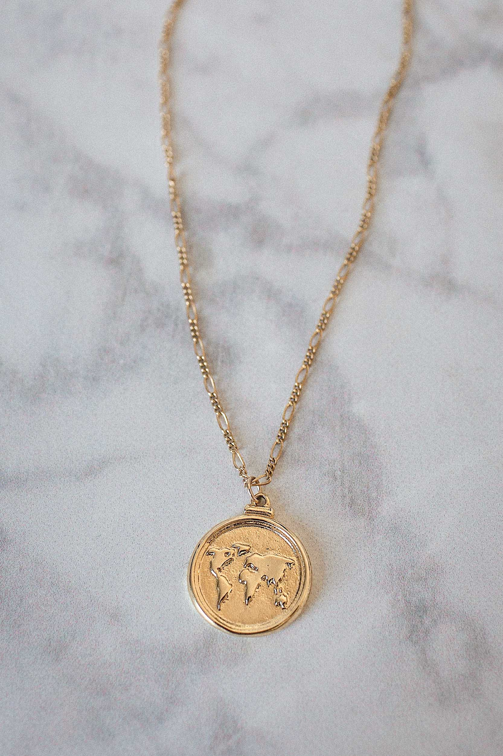 Wanderlust Necklace. Gold coin necklace. Travel jewelry.  #goldjewelry #goldnecklace #necklace #jewelrynecklaces #giftforher #giftideas #minimalistjewelry #layerednecklace