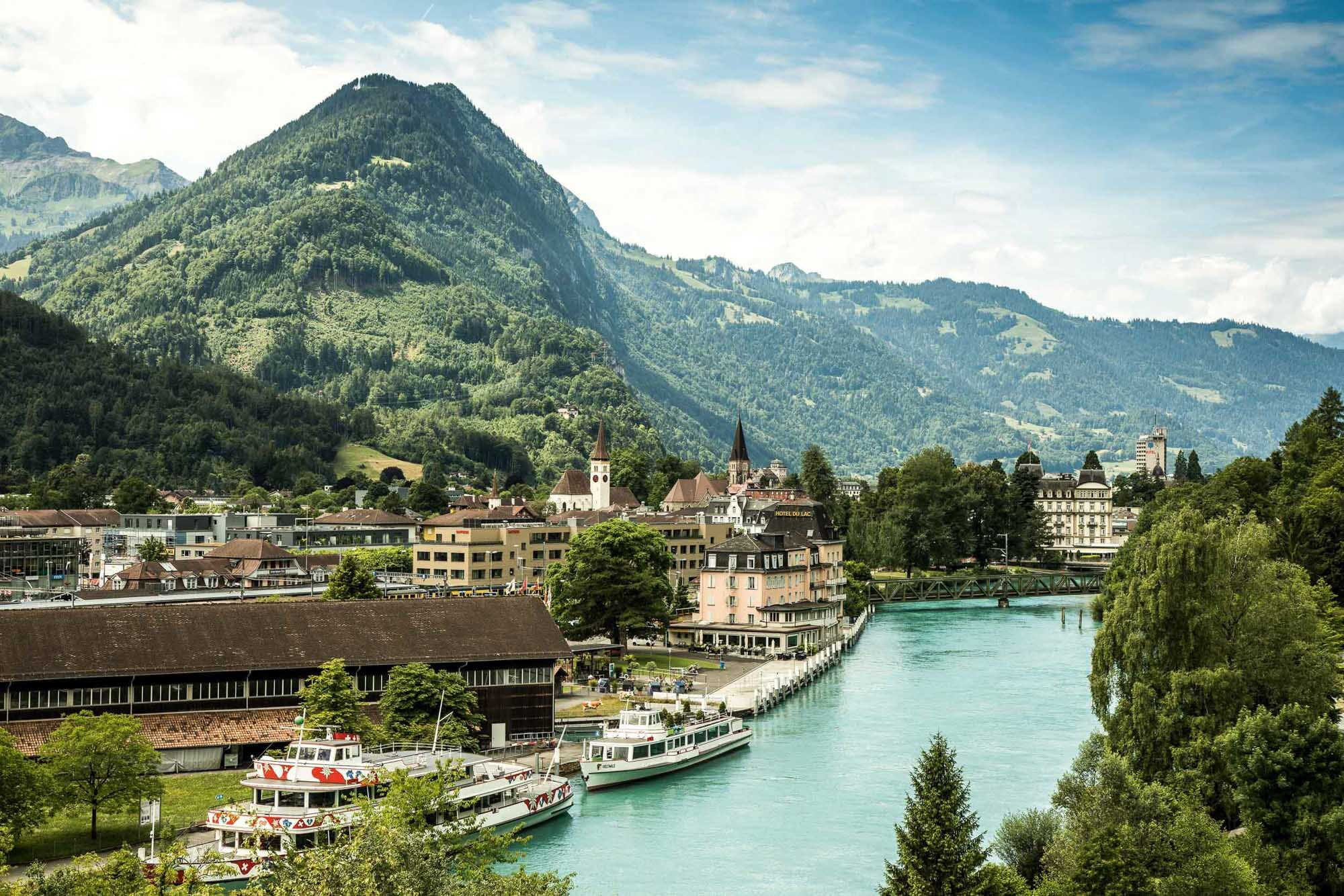 Ship harbor and railway station Interlaken Ost. Copyright by: Switzerland Tourism