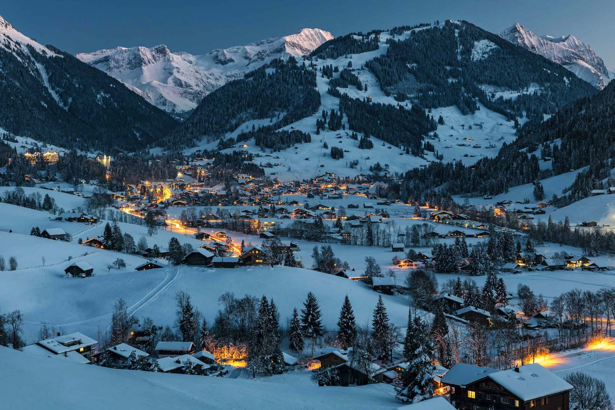 View of Gstaad at the Einnachten. Copyright by: Switzerland Tourism