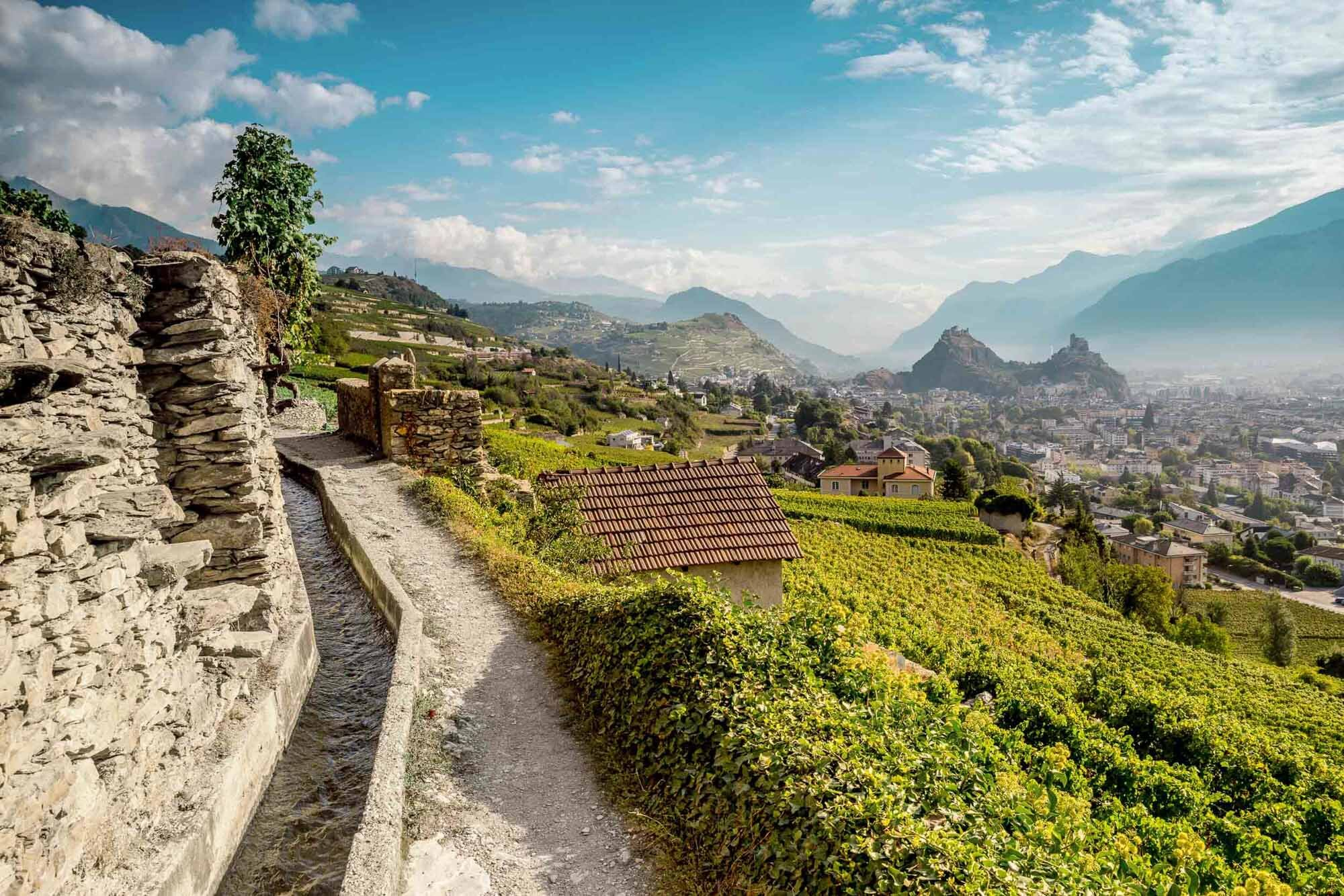 Panorama from the vineyard above Sion. Copyright by: Switzerland Tourism