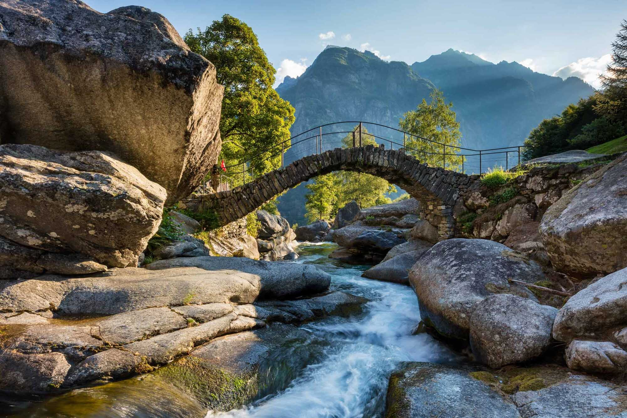 Typical stone bridge in the Val Calnegia near Cevio. Copyright by: Switzerland Tourism