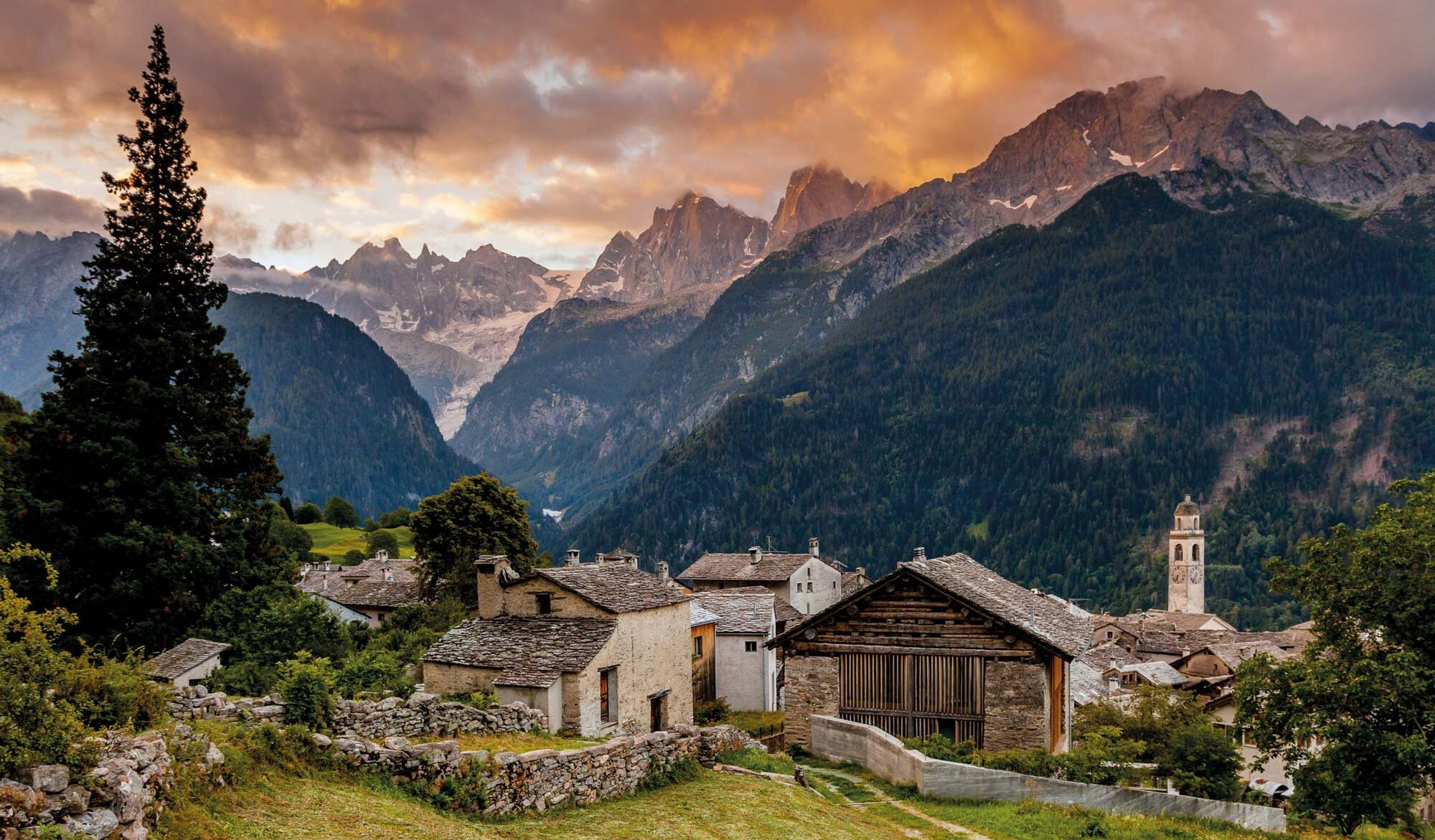 Morning Lights over Soglio. Copyright by: Switzerland Tourism