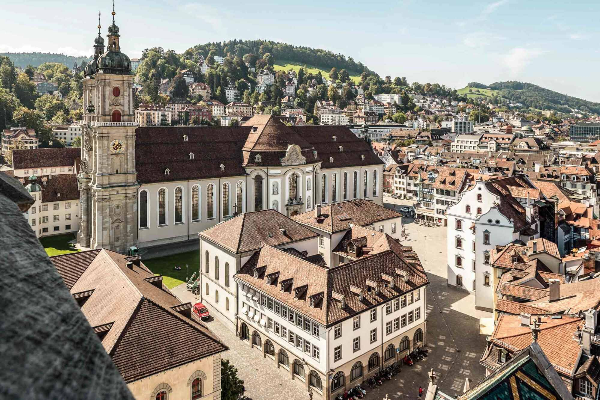 St. Gallen, football town with tradition: View from the Catholic church tower to the abbey district. Copyright by: Switzerland Tourism