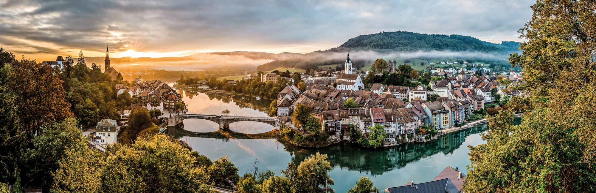 The main city of the district Laufenburg is located on the Upper Rhine on the border with Germany (left side), in the northeast of the Fricktal region. Copyright by: Switzerland Tourism