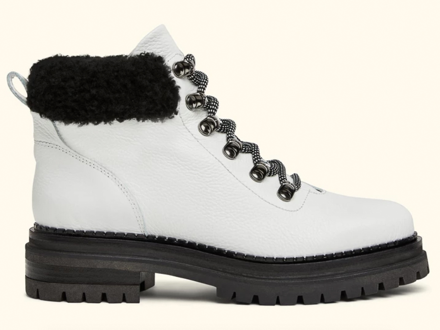 M. Gemi the Alpi Shearling Bootie in White Leather
