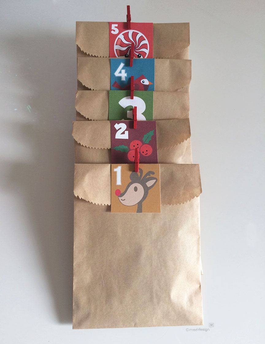 I found craft bags in just the perfect size. Throw in some goodies and some cute mini clothespins to complete. No Peeking!