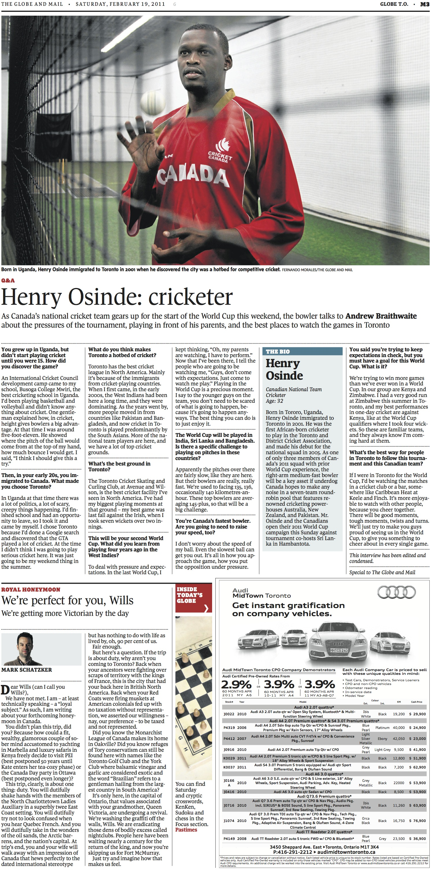 Q&A: Henry Osinde  //  The Globe and Mail  //  2011  //  web