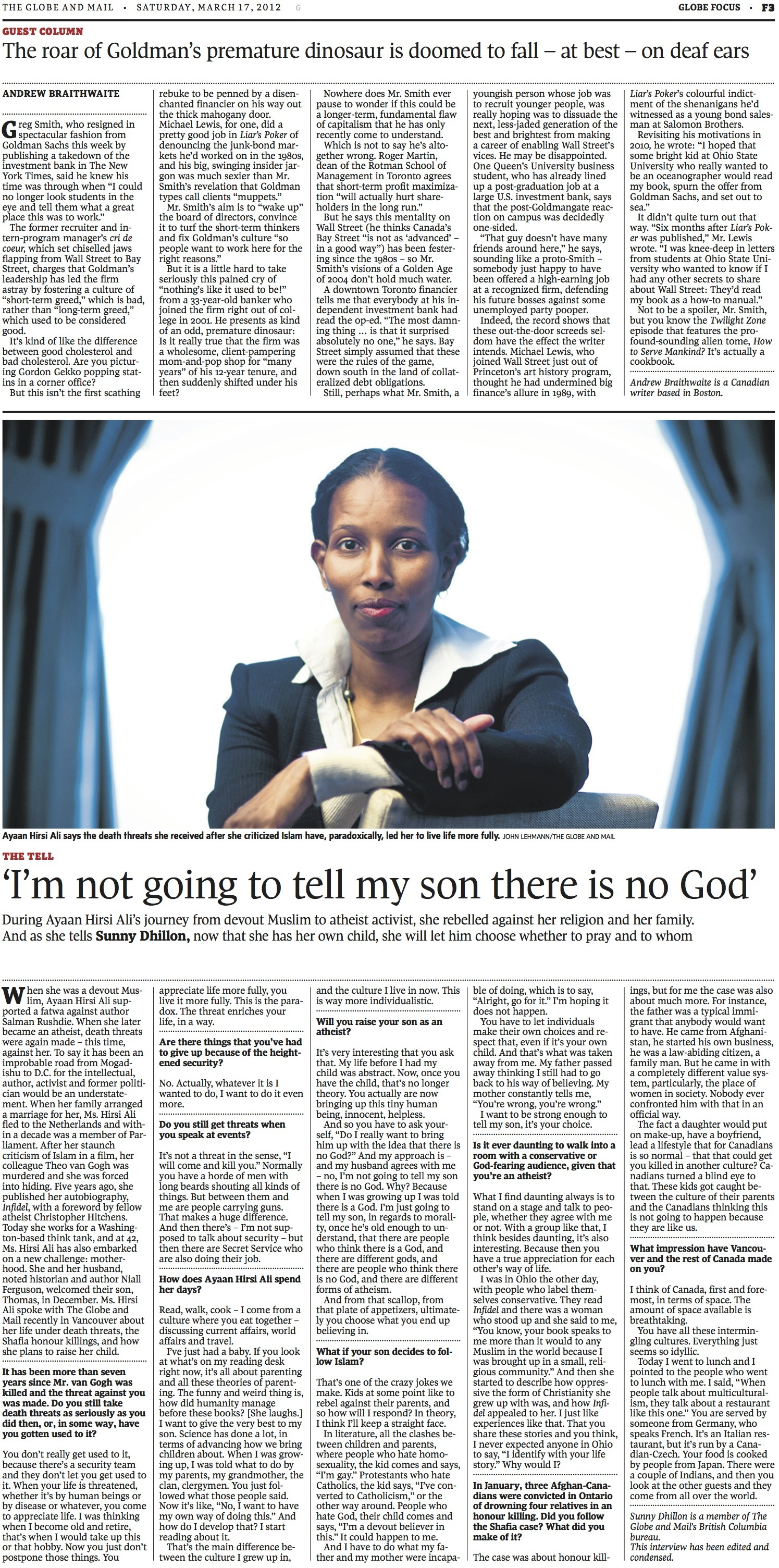 Goldman's Premature Dinosaur // The Globe and Mail // 2012 // web