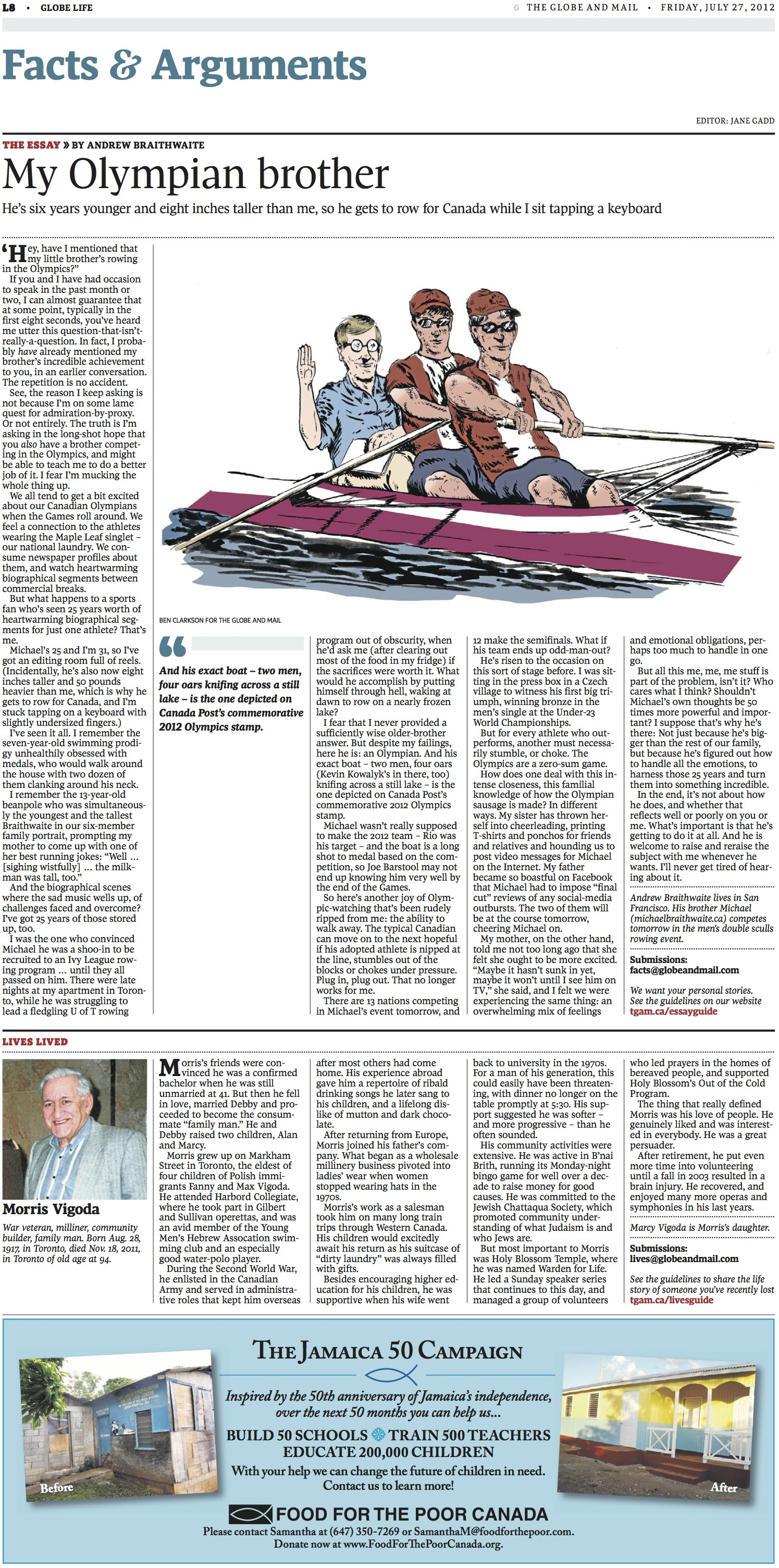 My Olympian Brother // The Globe and Mail // 2012 // web