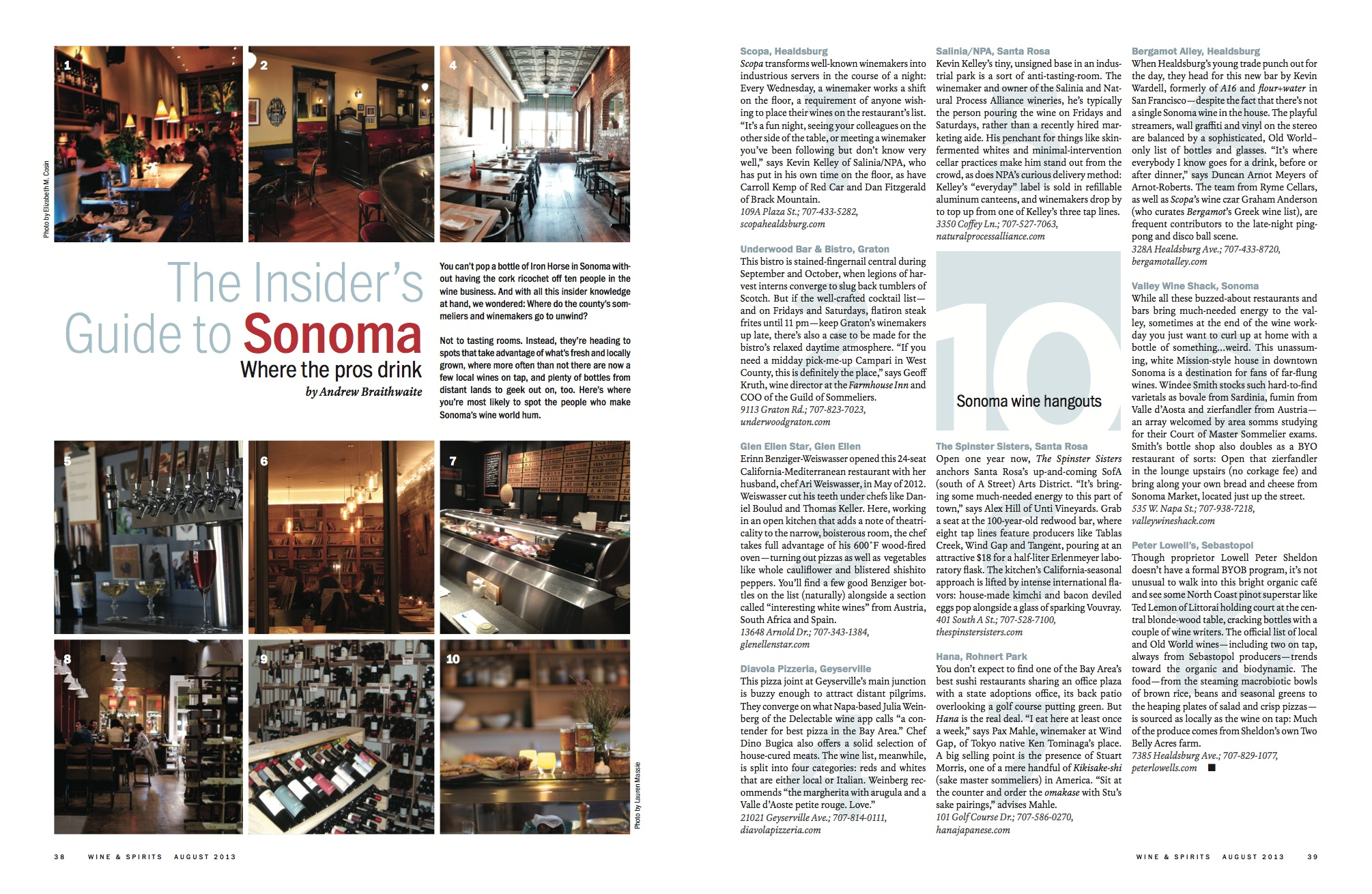 The Insider's Guide to Sonoma // Wine & Spirits // 2013 // pdf