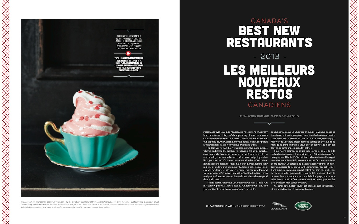 Canada's Best New Restaurants  //  enRoute  //  2013  //  web   (National Magazine Awards winner)