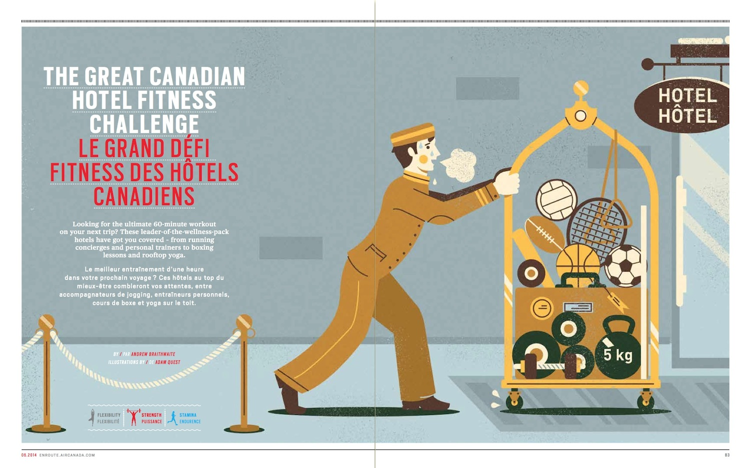 The Great Canadian Hotel Fitness Challenge // enRoute // 2014 // web