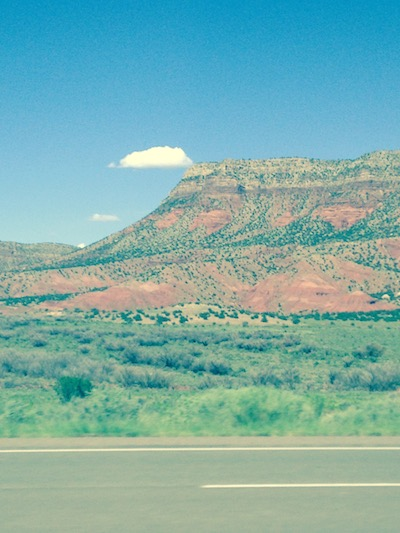 Landscape on the highway west of Santa Fe, New Mexico.