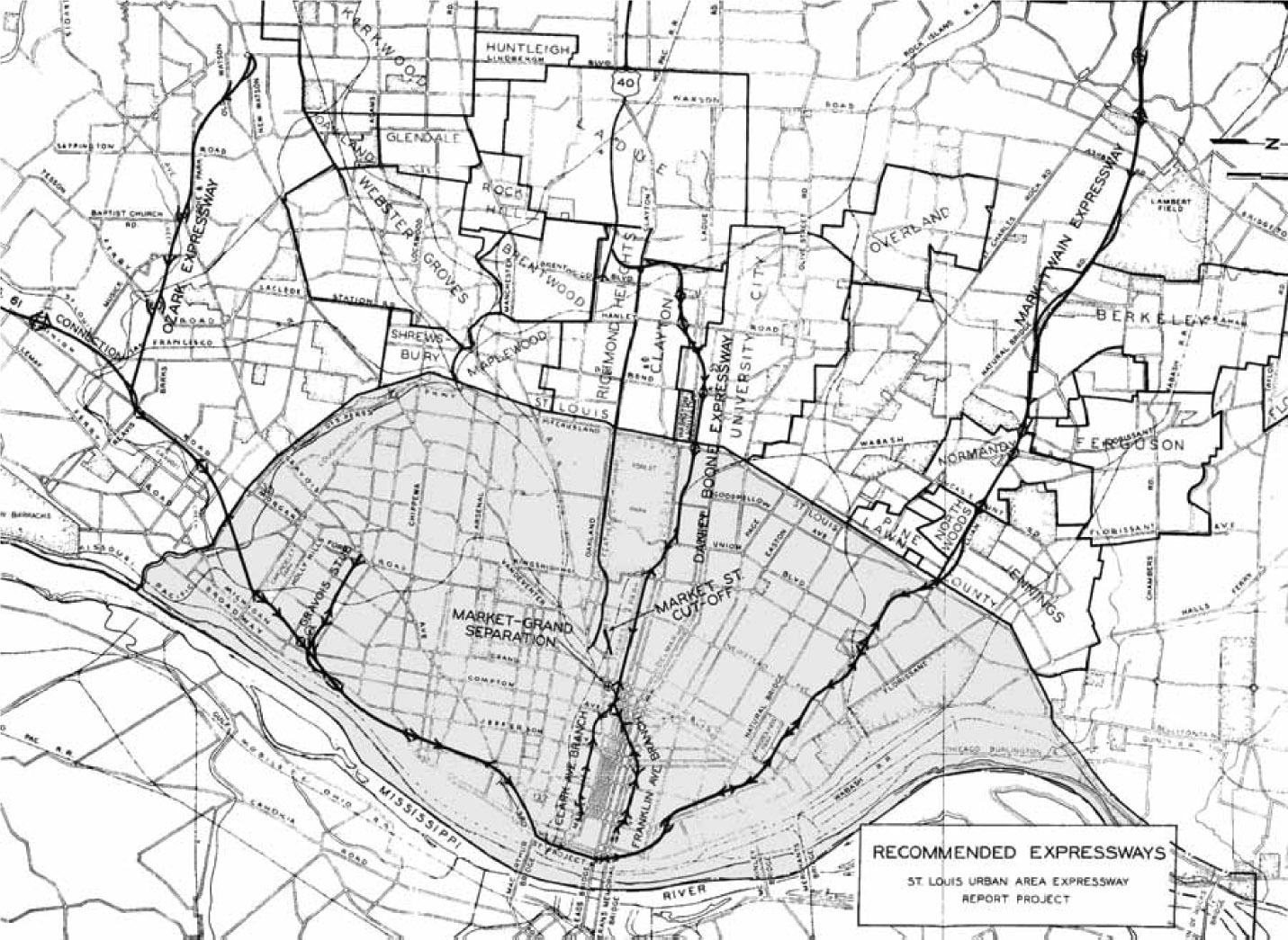 "800x600              800x600       Elliott Plan; Courtesy of Burbridge, J.  ""The Veering Path of Progress: Politics, Race, and Consensus in the North St. Louis Mark Twain Expressway Fight, 1950-1956.""  Masters Thesis, Saint Louis University, 2009."