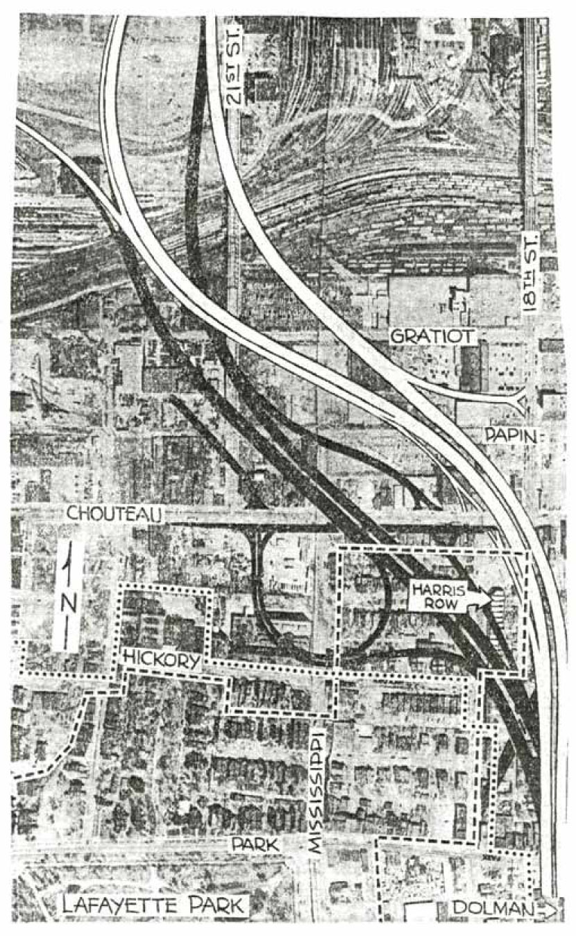 "800x600       Wood, Sue Ann.  ""North-South Distributor road controversy.""  Saint Louis Globe-Democrat, February 1, 1973.  Courtesy of Missouri Historical Society, St. Louis Streets & Roads Scrapbook, Vol. 2.  68."