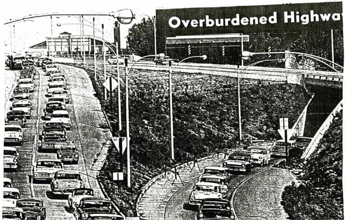 """Overburdened Highways.""  Saint Louis   Post-Dispatch,  September 20 , 1959.    Courtesy of Missouri Historical Society, St. Louis Streets & Roads Scrapbook, Vol. 2.    48."
