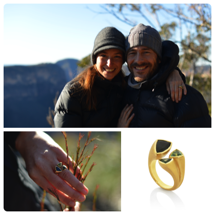 """""""We are very happy with our recent engagement. We believe the process of designing a ring is a journey in itself. Under Miguel's creative guidance, Claudi has created a piece specially for Sara, and it is the most beautiful ring we have ever seen. This ring symbolises in a magic way our personalities and our mutual love; The meaning, the wishes and the aesthetics are reflected with gracefulness in this unique piece containing life and charm within. The 3 stones, Australian sapphires, are selected in the colours of nature, our element: blue, green and yellow, and are composed with both organic and architectural harmony. Thank you Claudi always for your art and sensitivity. It is a special moment for us, a special ring, and special knowing that your energy is in it as well.""""  SARA & MIGUEL"""