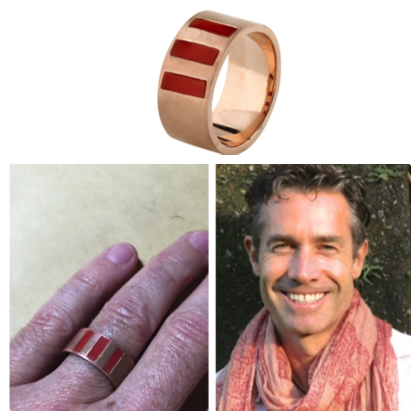 """"""" I wanted a specific ring made up with red coral in it. The coral was sourced in India and I approached Claudia to bring this idea to life. I loved her approach to this, it was fun, easy and i could feel her passion for the project. I love the end result. It's better than I could have imagined. Thank you Claudia, you're awesome!""""  TOM"""