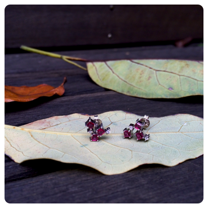 bespoke ruby earrings in white gold