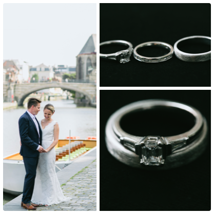 """""""Thomas worked closely with Claudi in the design process for Jo's engagement ring. The outcome was absolutely stunning, and just perfect for Jo. When we sat down with Claudi to discuss the wedding rings we knew that she would again create beautiful pieces. We absolutely love our rings. It was a delight working with you Claudi, and meant so much to us that our beautiful friend contributed so much to our wedding day. Thank you!""""  THOMAS & JO"""