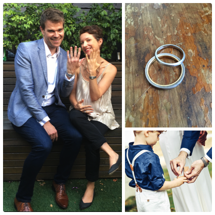 """""""A huge thank you, Claudi for producing our wonderful wedding rings. We were quite specific as to what we had in mind and you followed the brief flawlessly, adding your personal touch along the way. We are both delighted with the final pieces and so happy that you of all people crafted them.""""  KRISTINA AND ANDREW"""