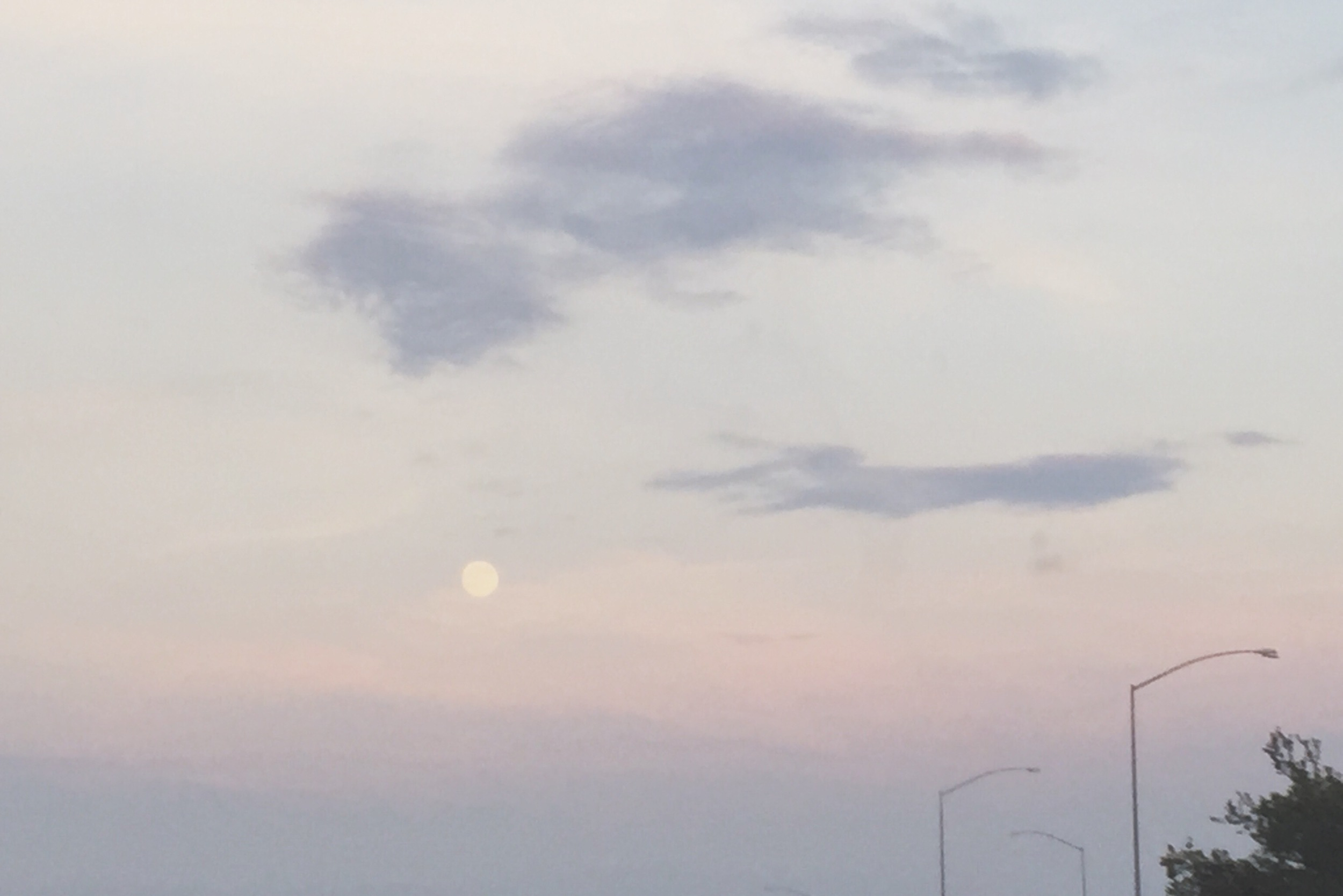 The Blue Moon taunting us toward the end of our incredibly long drive.