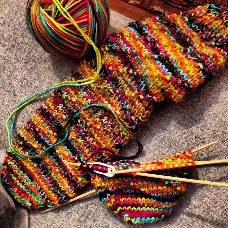 Socks with yarn held double to reduce pooling