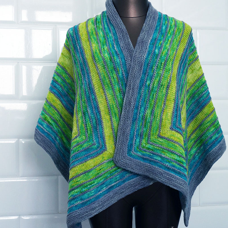 Echo Shawl in Fates and Graces, Blue Margarita Colorway
