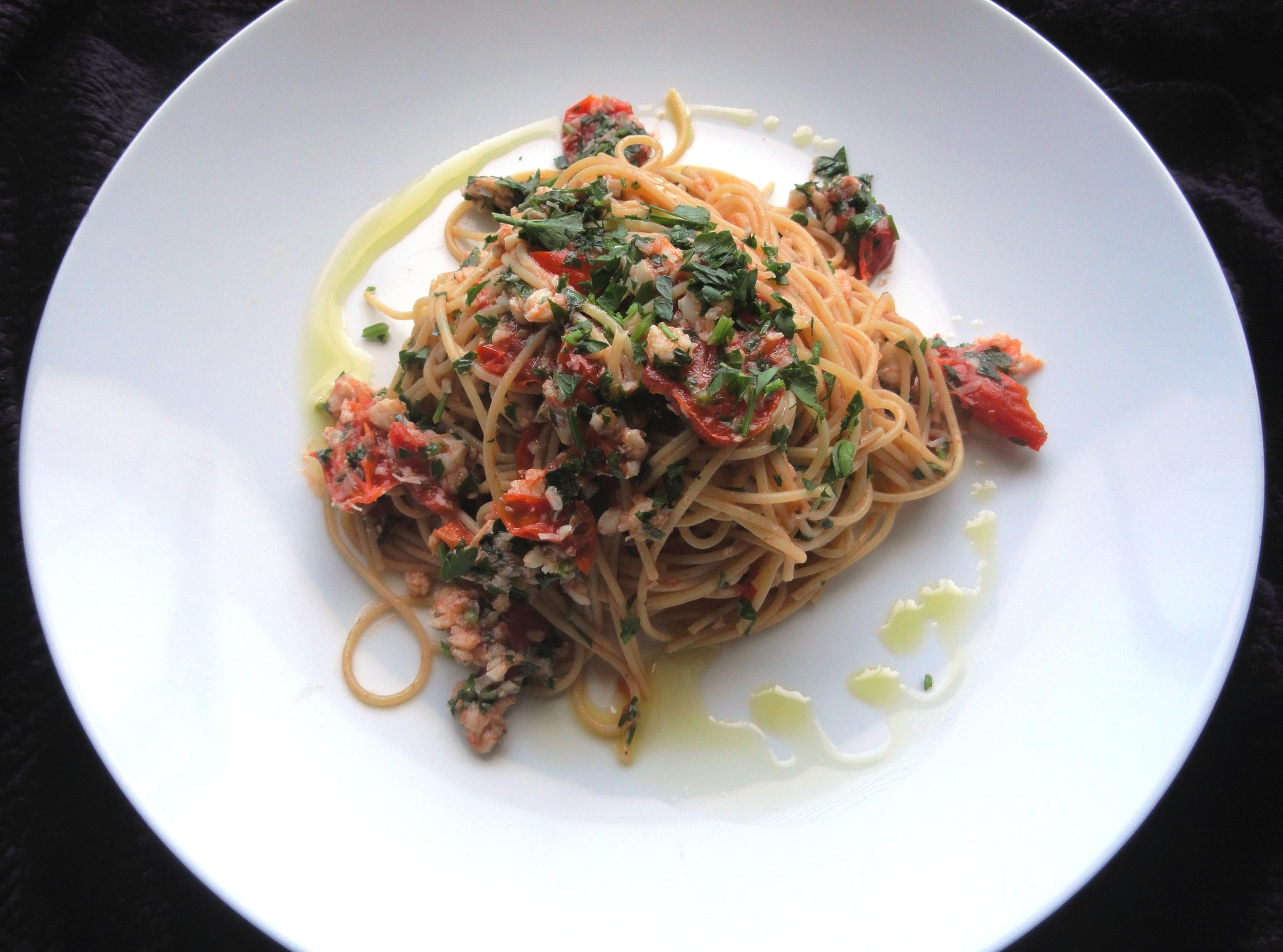 Spicy sea bass and tomato ragu with tagliolini