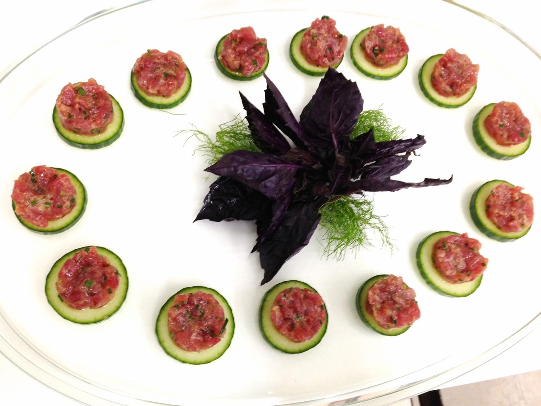 Asian tuna tartare on cucumber crisps