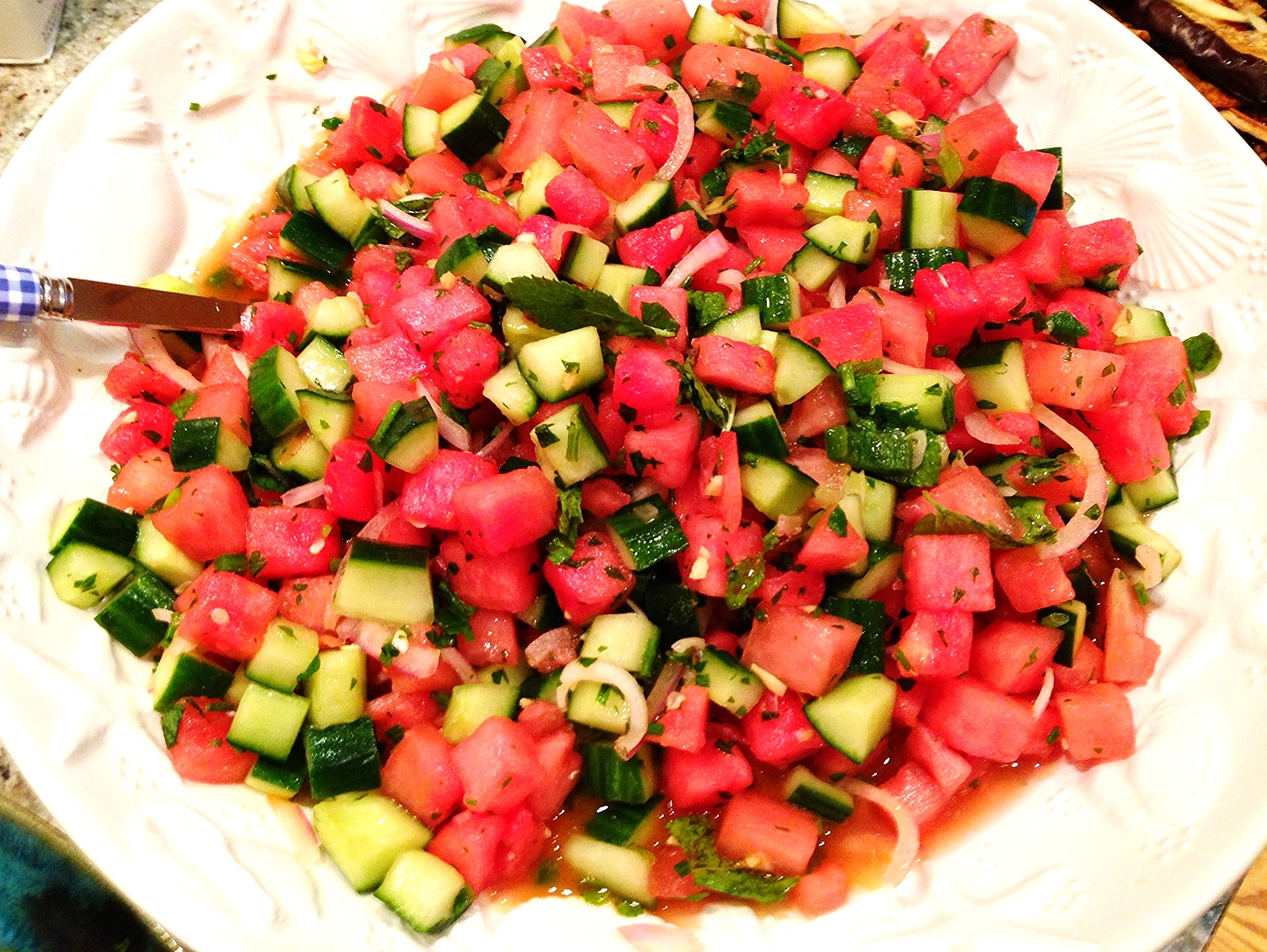 Thai watermelon and cucumber salad with red onion and mint
