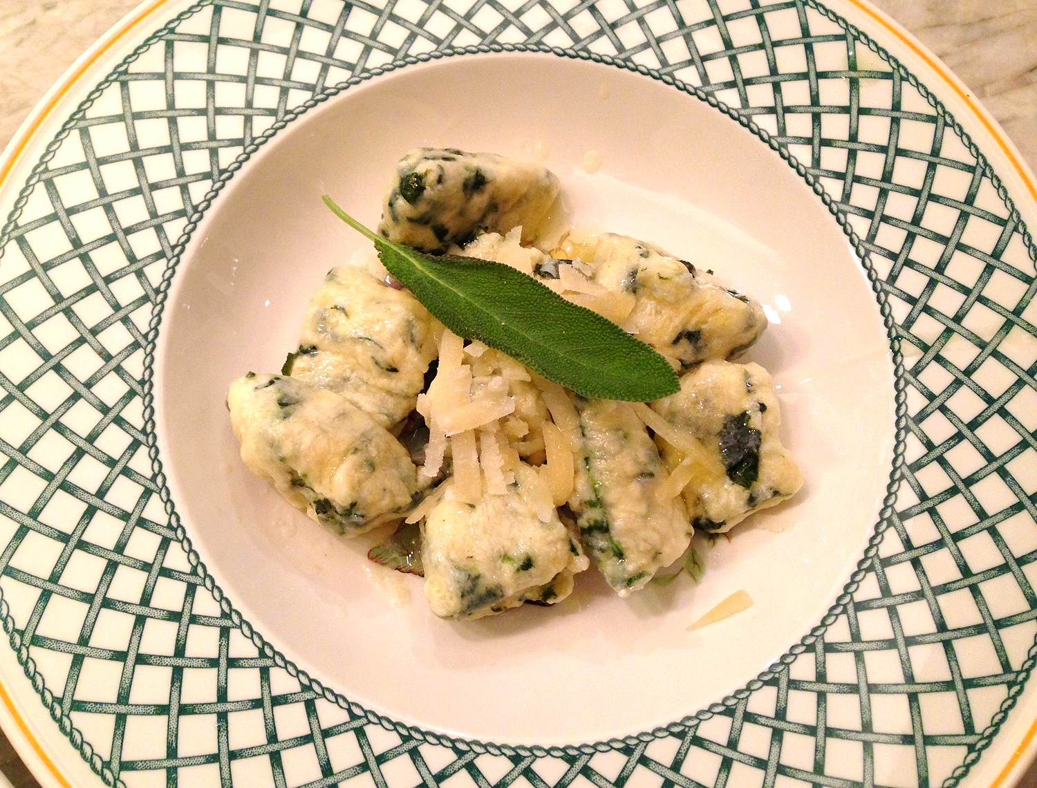 Spinach and ricotta gnudi with brown butter and sage