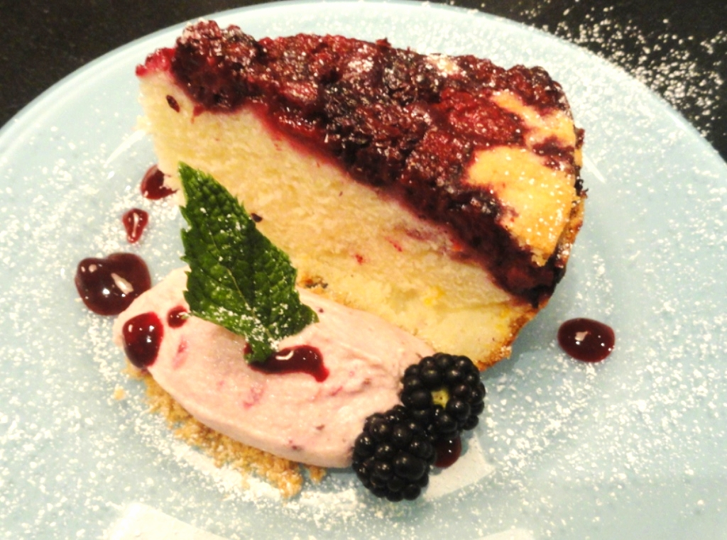 Blackberry-buttermilk upside-down cake with blackberry-mascarpone mousse