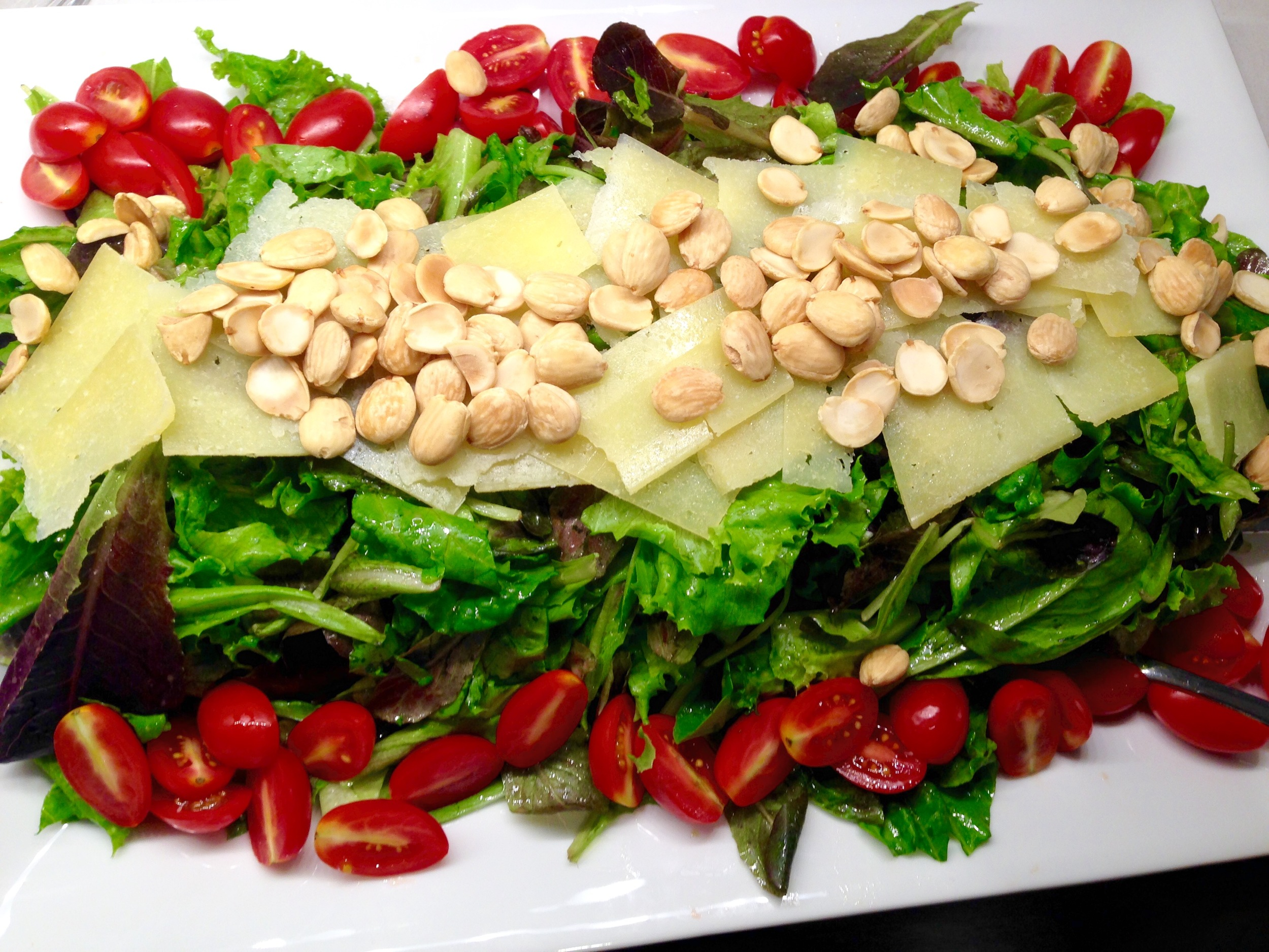 Sweet greens with manchego, tomato, marcona almonds, sherry vinaigrette
