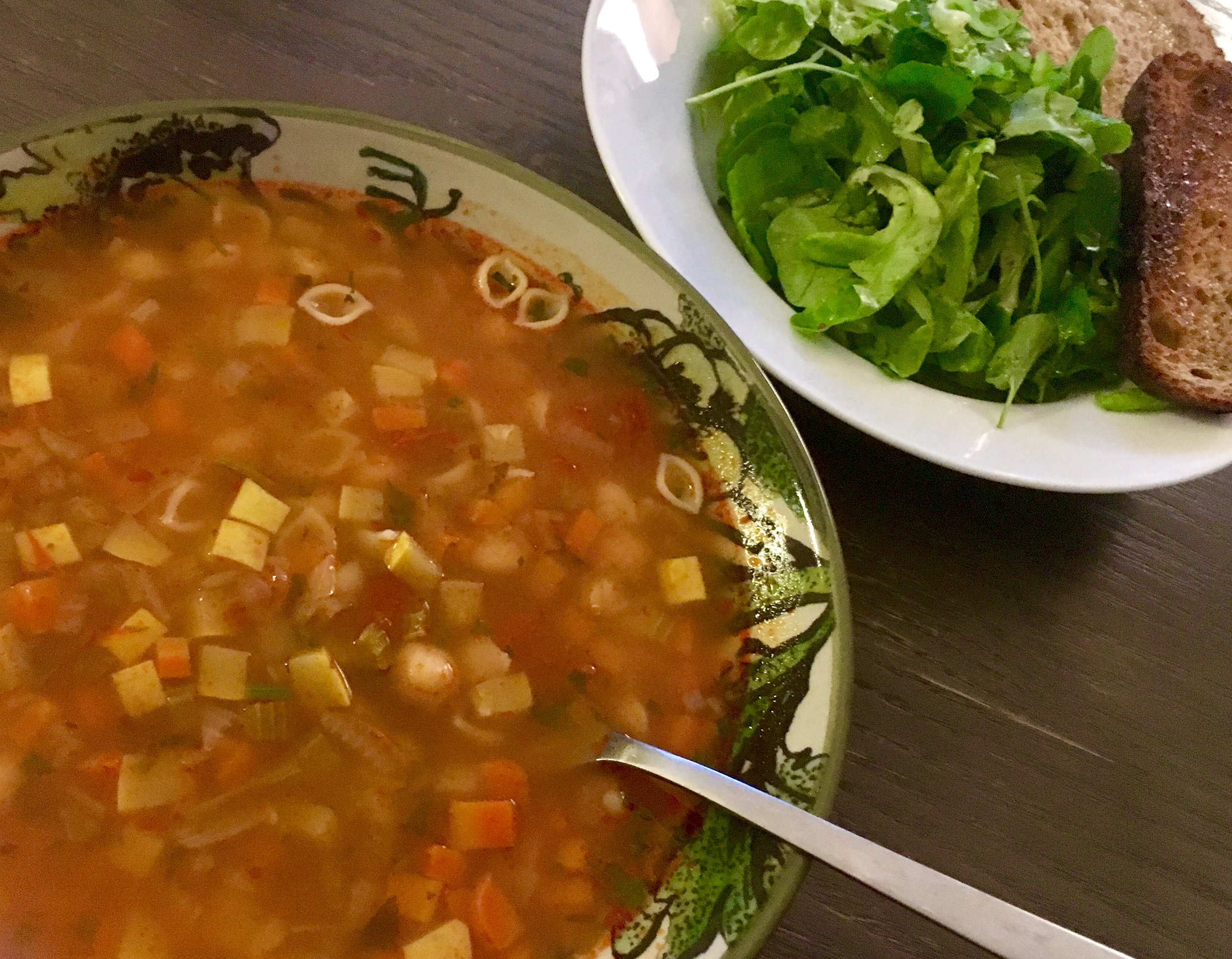 Minestrone with baby shells and salad.jpg