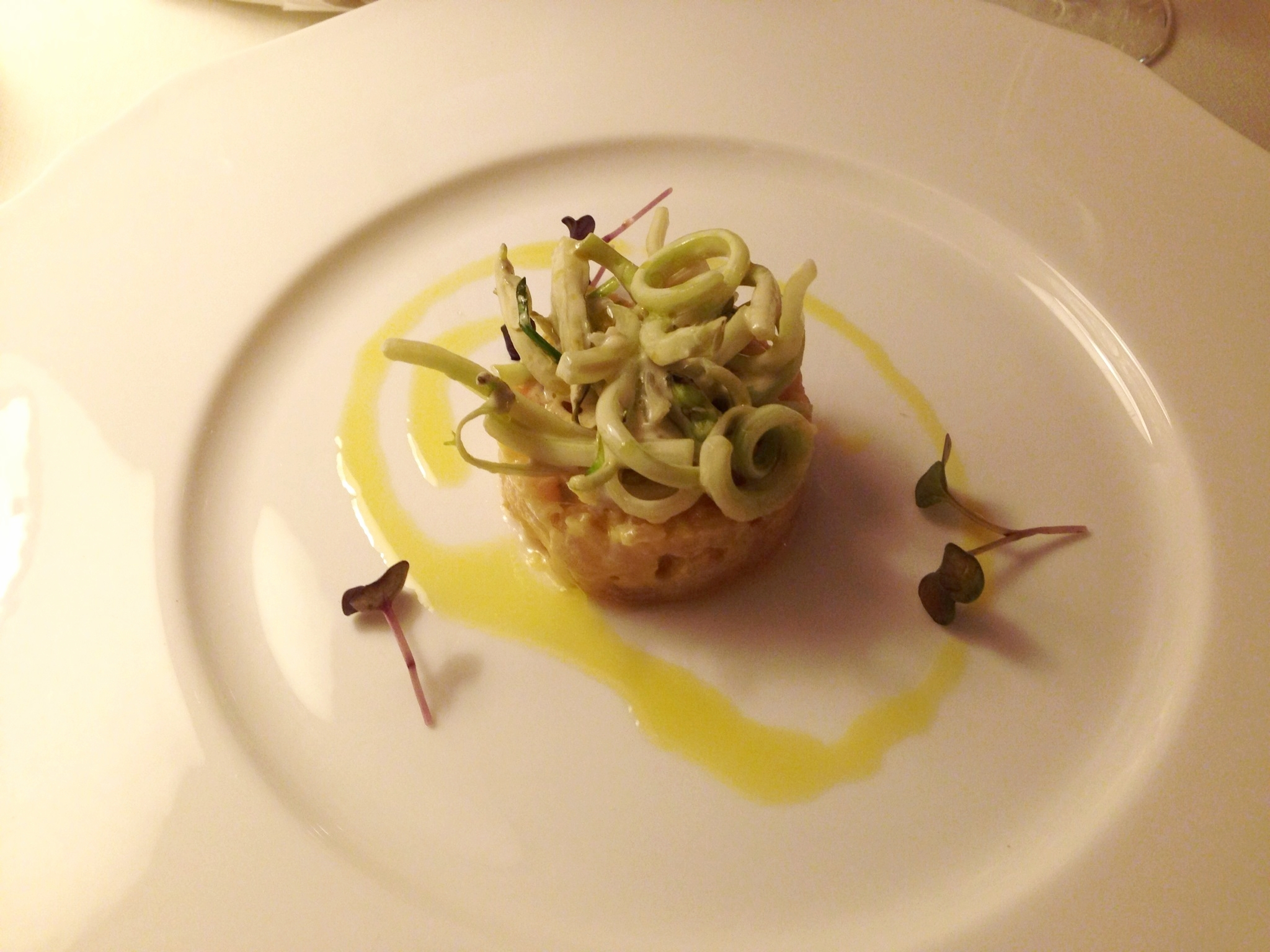 Ricciola tartare amberjack with ginger and puntarelle.JPG