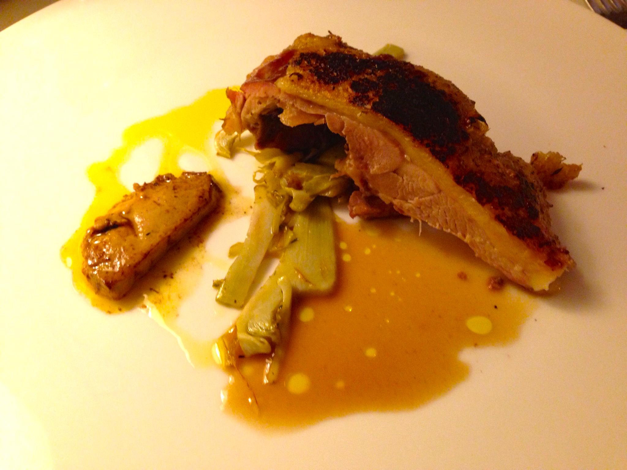 Crispy skinned duck, foie gras, artichoke.JPG
