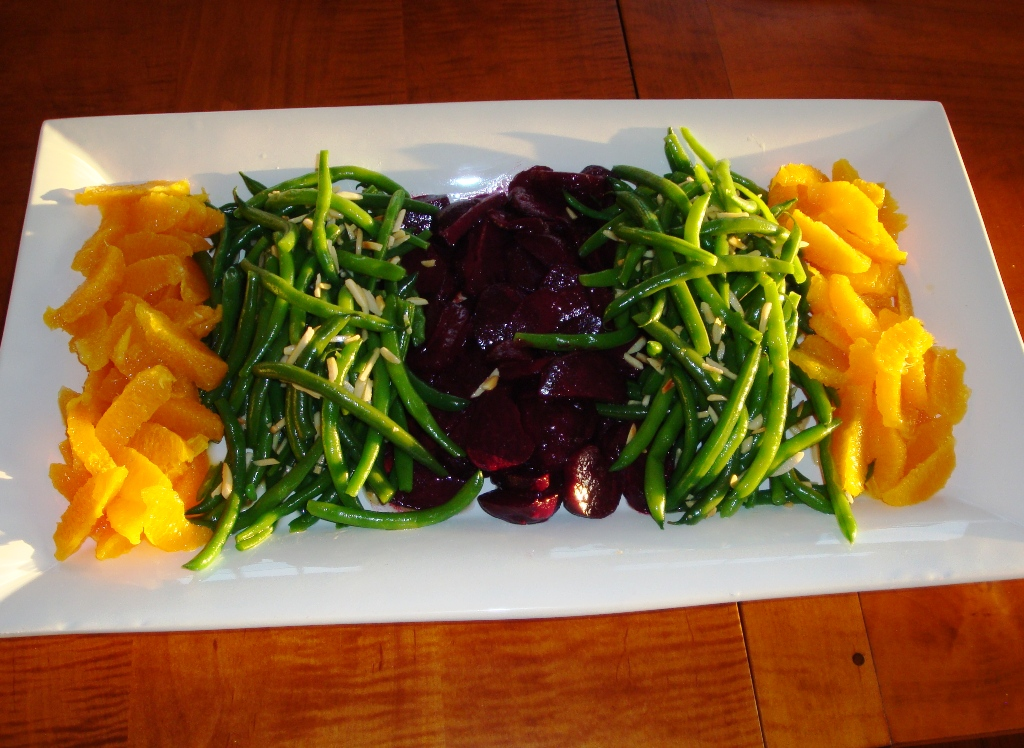 Haricots verts with almonds, beets, and orange supreme